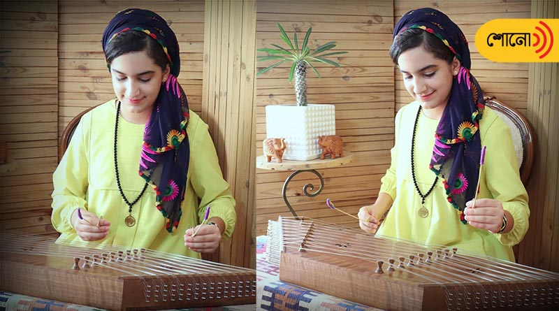 Iranian girl plays national anthem of India by Santur