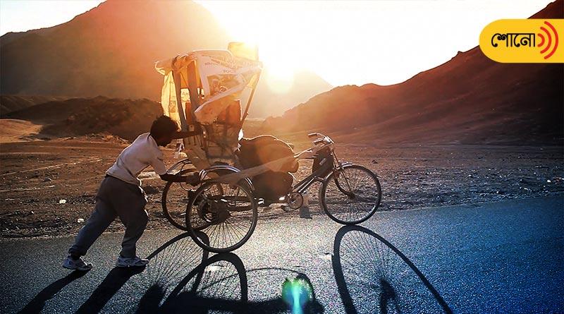 Incredible rickshaw puller Satyen Das flag off his journey towards Siachen