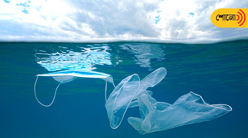 severe pollution created by disposable masks dumped under the sea