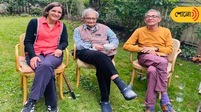 three nobel laureates spotted in a photo including Amartya Sen